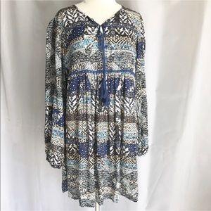 Jaase Dresses - Jaase Boho Tunic Dress Babydoll Tassel Floral Blue